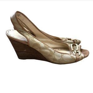 Coach   tan peep toe sling back wedges